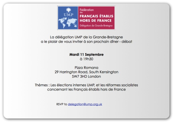 Invitation délégation UMP GB 11 septembre 2012