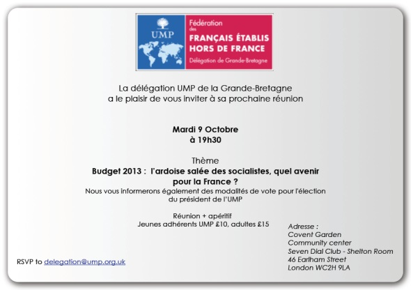 Invitation mardi 9 octobre 2012